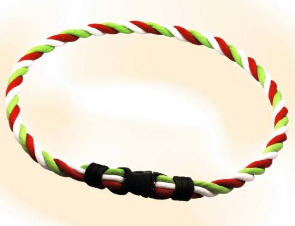 Pro's Pro Ionen Power Halskette grün/weiß/rot Medium