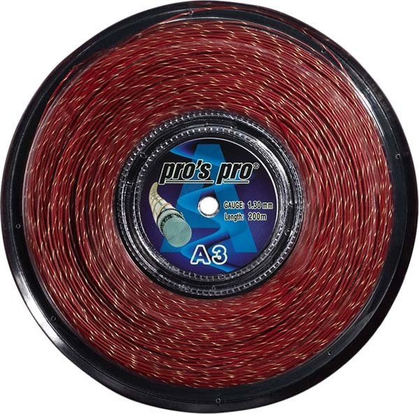 Pro's Pro Tennissaite 200 m Synthetik A 3 rot-gold-spiral 1,30 mm