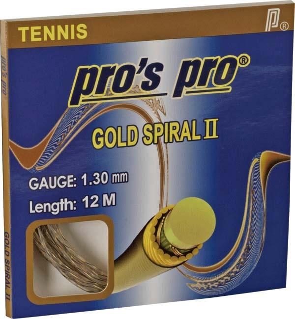 Pro's Pro Tennissaite Synthetik 12 m Gold Spiral II grau-gold 1,30 mm