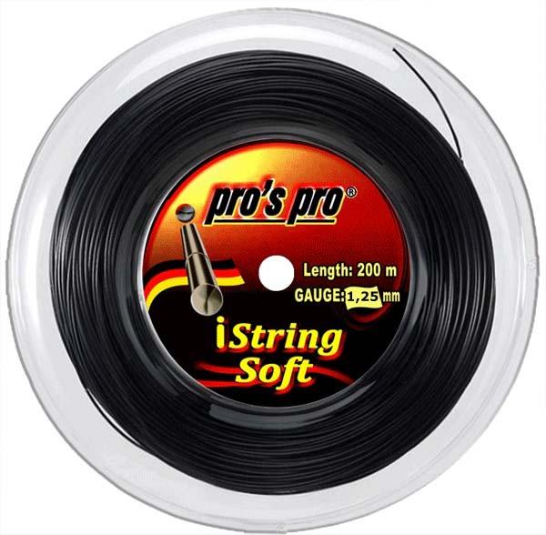 Pro's Pro 200-m-Tennissaite iString Soft 1,25 mm schwarz Deutsche Polyestersaite armschonend
