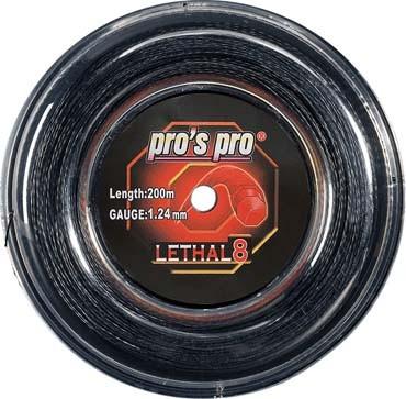 Pro's Pro 100-m-Tennissaile Lethal 8 schwarz 1,24 mm Deutsche Polyestersaite profiliert
