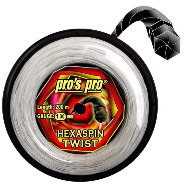 Pros Pro Deutsche Polyester Tennissaite Hexaspin Twist 1.30 200 Meter weiss