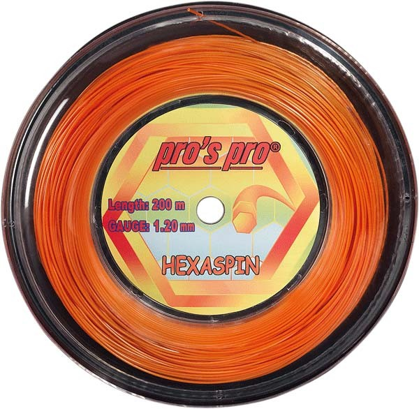 Pro's Pro 200-m-Tennissaite Hexaspin 1,25 mm orange 6-kant Deutsche Polyestersaite