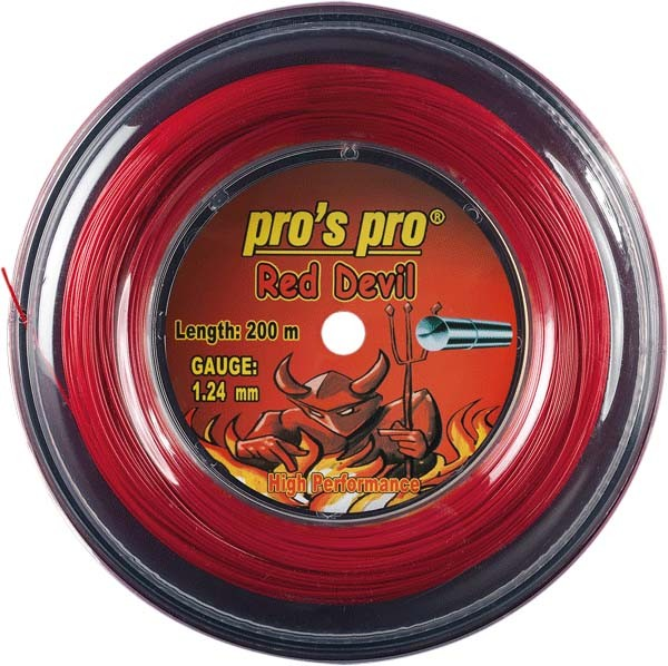 Pro's Pro 200-m-Tennissaite Red Devil 1,24 mm rot Deutsche Polyestersaite