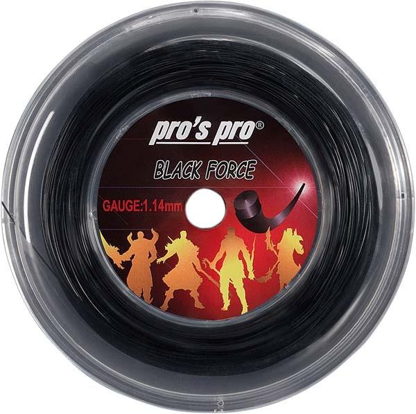 Pro's Pro 200-m-Tennissaite Black Force 1,14 mm schwarz Deutsche Polyestersaite