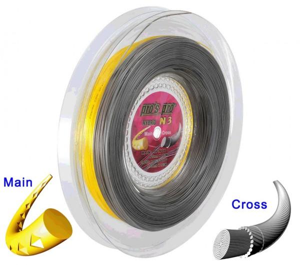 Pro's Pro Tennissaite 2 x 100 m Hybrid N 3 Spinox 1,25 mm gelb Hot Stuff 1,33 mm anthrazit