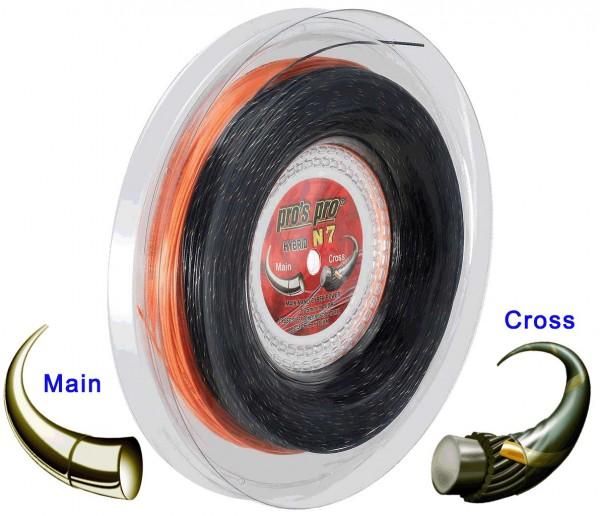 Pro's Pro Tennissaite 2 x 100 m Hybrid N 7 Nano Cyber Power 1,25 mm orange Super Power 1,30 mm schwarz-gold