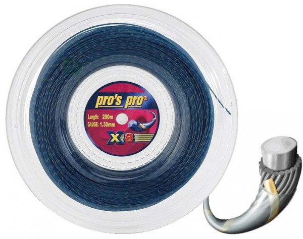 Pro's Pro Tennissaite 200 m Synthetik Spiral X 8 blau gold 1,30 mm
