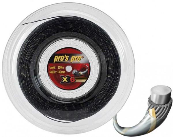 Pro's Pro Tennissaite 200 m Synthetik Spiral X 6 schwarz gold/spiral 1,30 mm