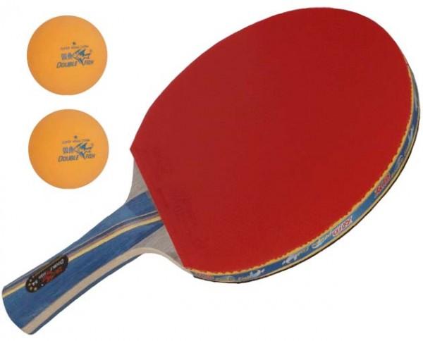 Double Fish Tischtennisschläger 5A-C defensive Spieler Ichoniki Linde Belag Volant Noppen innen inkl. 2 Bälle