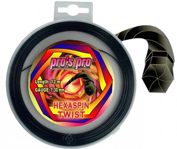 Pros Pro Deutsche Polyester Tennissaite Hexaspin Twist 1.30 12 Meter schwarz