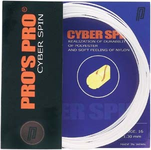 Pro's Pro Tennissaite 12 m Polyester Cyber Spin 1,30 mm weiss