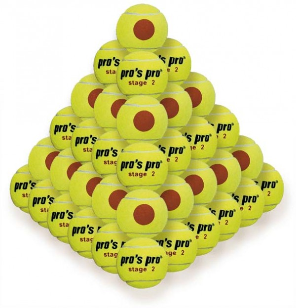 Pros Pro Tennisbälle Stage 2 60er gelb mit orangem Punkt ITF approved
