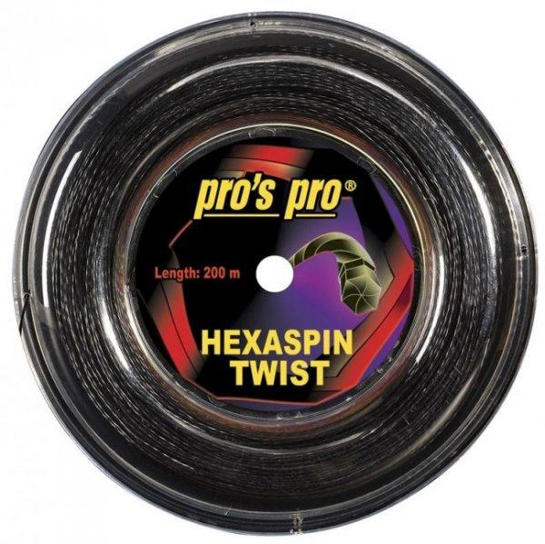 Pro's Pro 200-m-Tennissaite Hexaspin Twist 1,20 mm schwarz profiliert Deutsche Polyestersaite