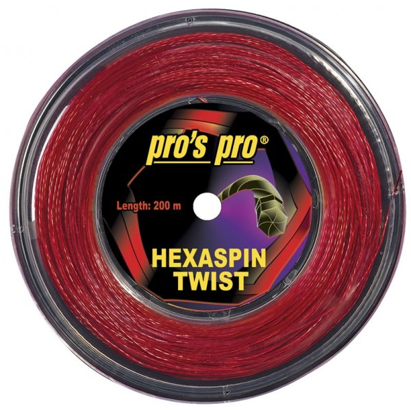Pro's Pro 200-m-Tennissaite Hexaspin Twist 1,20 mm rot profiliert Topspin Deutsche Polyestersaite
