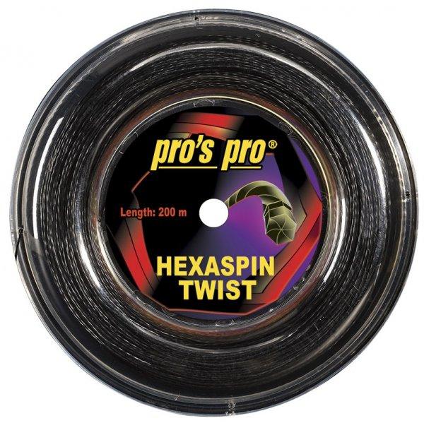 Pros Pro Deutsche Polyester Tennissaite Hexaspin Twist 1.30 200 Meter schwarz
