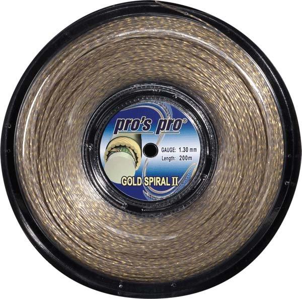 Pro's Pro Tennissaite 200 m Synthetik  Gold Spiral II grau gold/spiral 1,30 mm