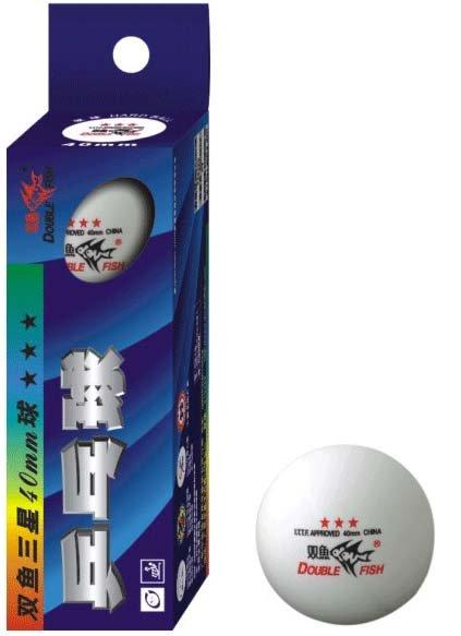 Double Fish Super 3-Star Tischtennis-Bälle 3er weiss