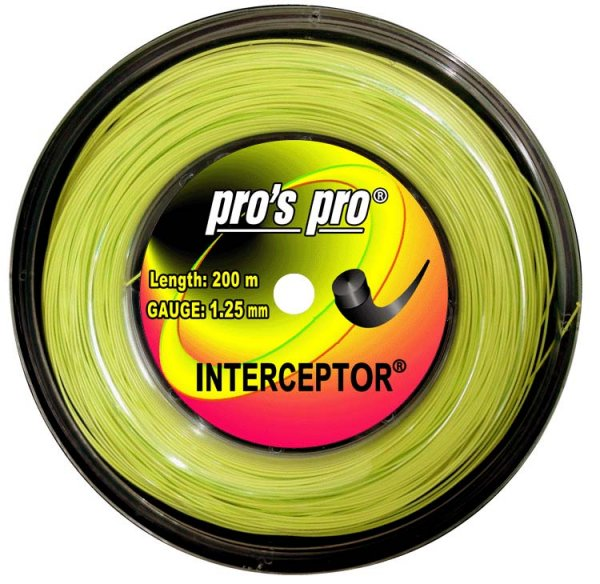 Pro's Pro 200-m-Tennissaite Interceptor 1,25 mm lime Deutsche Polyestersaite