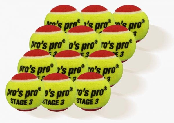 Pros Pro Tennisbälle Stage 3 12er gelb/rot ITF approved
