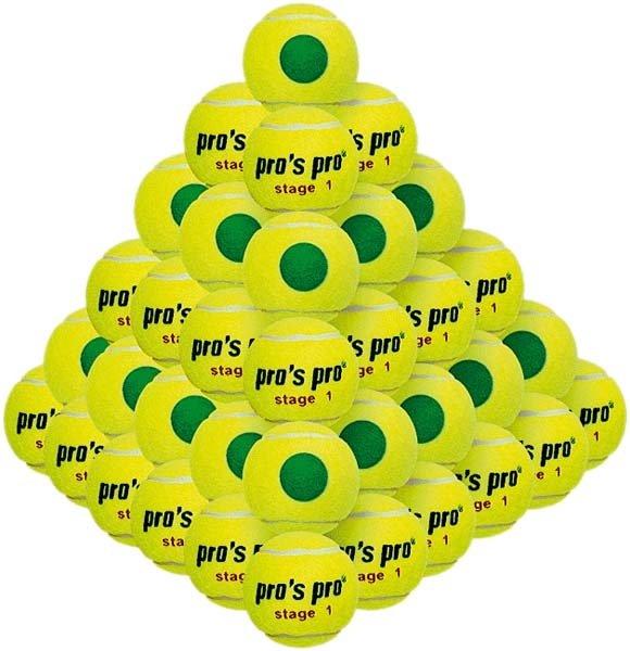 Pros Pro Tennisbälle Stage1 60er gelb mit grünem Punkt druckvermindert ITF approved
