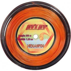 Pro's Pro 200-m-Tennissaite Hexaspin 1,25 mm orange 6-kant Deutsche Polyestersaite