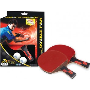 Double Fish Tischtennisschläger 7A-C Wettkampf Eiche Linde 2 Beläge Volant FL233 inkl. 2 Bälle
