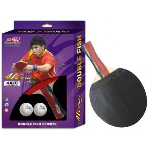 Double Fish Tischtennisschläger 4A-C Beschleunigung Spin Noppen innen Lindenholz inkl. 2 Bälle