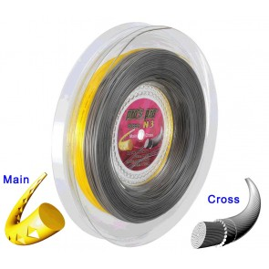 Pro's Pro Tennissaite 2 x 100 m Hybrid N 3 Spinox 1,25 mm gelb Hot Stuff 1,33 mm anthrazit