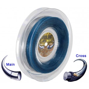 Pro's Pro Tennissaite 2 x 100 m Hybrid N 9 Nano Cyber Power 1,25 mm silber Super Power 1,30 mm blau-gold