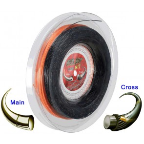 Pro's Pro Tennissaite 2 x 100 m Hybrid N 7 Nano Cyber Power 1,25 mm orange Super Power 1,30 mm schwarz-gold