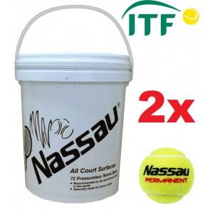 Tennisbälle Nassau Permanent 72er Eimer drucklos gelb ITF approved 2er-SET