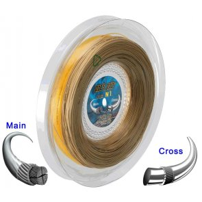 Pro's Pro Tennissaite 2 x 100 m Hybrid N 1 Pure Aramid 1,20 mm ocker Super Power 1,30 mm gold