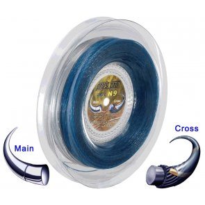 Pro's Pro Tennissaite 2 x 100 m Hybrid N 9 Nano Cyber Power 1,25 mm silber Super Power 1,30 mm blau-gold