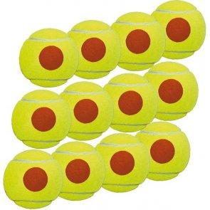 Beach Tennis Ball 12er gelb mit orangen Punkt