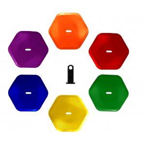 Hexagon Bodenmarkierung 6er
