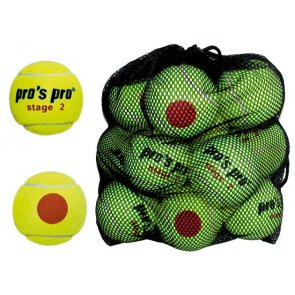 Pros Pro Tennisbälle Stage 2 12er gelb mit orangem Punkt ITF approved