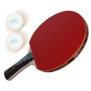 Double Fish Tischtennisschläger 6A-C Wettkampf Eiche Linde Volant 2 klebrige Oberfläche inkl. 2 Bälle